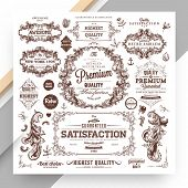 Set of Vintage Decorations Elements. Flourishes Calligraphic Ornaments and Frames. Retro Style Desig poster