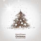 foto of hand drawn  - Christmas hand drawn fur tree for xmas design - JPG