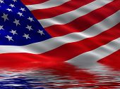 picture of the united states america  - An illustration of america flag with reflection - JPG