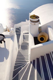 picture of greek-island  - l shape staircase in the island of santorini in greece - JPG