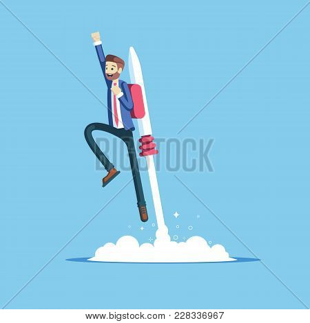 poster of Cheerful Businessman Flying Off With Jet Pack Vector Flat Illustration. Male Office Worker Flying Up