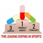 Pedestal With Leading Doping Agents In Sports. Isolated On White Background. Suitable For Use In Art poster