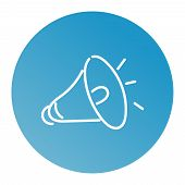 Loudspeaker Icon. Megaphone Sign. Announcement Symbol. Thin Line Icon On White Background. Vector Il poster