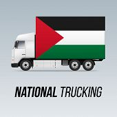 Symbol Of National Delivery Truck With Flag Of Palestine. National Trucking Icon And Palestinian Fla poster
