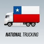 Symbol Of National Delivery Truck With Flag Of Chile. National Trucking Icon And Chilean Flag poster
