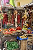 Rustic Italian Market Withwith Organic Vegetables And Fruits, Boxes Of Grapes And Oranges, Hanging B poster