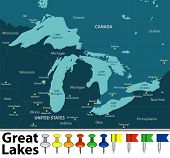 Vector Map Of Great Lakes With Countries, Big Cities And Icons poster