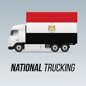 Symbol Of National Delivery Truck With Flag Of Egypt. National Trucking Icon And Egyptian Flag poster