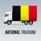 Symbol Of National Delivery Truck With Flag Of Belgium. National Trucking Icon And Belgian Flag poster