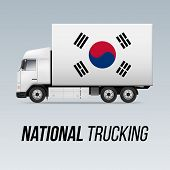 Symbol Of National Delivery Truck With Flag Of South Korea. National Trucking Icon And South Korean  poster