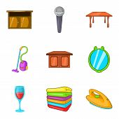 Rural Manor Icons Set. Cartoon Set Of 9 Rural Manor Vector Icons For Web Isolated On White Backgroun poster