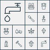 Gardening Icons Set With Leaf, Floret, Park Lamp And Other Garden Clothes Elements. Isolated Vector  poster