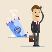 Businessman And Rocket Crashed. Business Failure, The Rocket Fall Down. Vector Flat Illustration poster