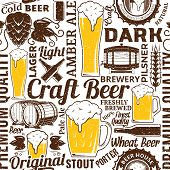Retro Styled Typographic Vector Beer Seamless Pattern Or Background poster