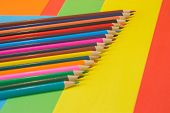 Many Colored Pencils On Colored Background. Art Of Color Pencils As Wallpaper. Variety Of Color poster