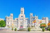 Fountain Of The Goddess Cibeles And Cibeles Center Or  Palace Of poster