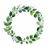 Green Watercolor Wreath. Composition Of Fresh Summer Foliage And Tree Branches. Design For Wedding,  poster