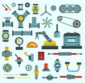 Parts Of Machinery Flat Icons Set Manufacturing Work Detail Design. Gear Mechanical Equipment Part I poster