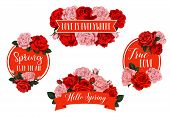 Hello Spring Time Season Holiday Greeting Wish Icons Of Red Flowers Bunches. Vector Isolated Set Of  poster