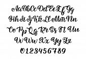 Vector Hand Drawn Typeface. Brush Painted Letters. Handwritten Script Alphabet Isolated On White Bac poster