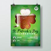 Saint Patricks Day Party Flyer Illustration With Fresh Dark Beer In Clover Silhouette And Typograph poster