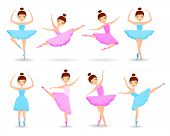 Set Of Girls Ballet Dancer. Young Ballerina In Tutu Dress, Different Choreographic Position Collecti poster