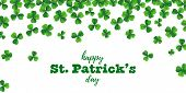 Patrick Day Background With Vector Four-leaf Clover Pattern Background. St Patrick Day Card With Luc poster