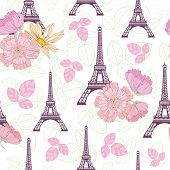 Vector Spring Purple Pink Eifel Tower Paris And Roses Flowers Seamless Repeat Pattern Surrounded By  poster
