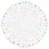 Постер, плакат: Bright Big Bang Curl Bang Psychedelic Spiral Combined With Scatter Big Bang Objects Vector Illustr