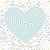 Heart Aqua Sky Blue Optical Illusion Of 3d Three-dimensional Volume. Pastel Colors Polka Dot Backgro poster