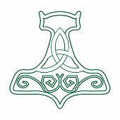 Постер, плакат: Vector Illustration For Nordic Community: Mjolnir Or The Hammer Of Thor Old Germanic Symbol Of God