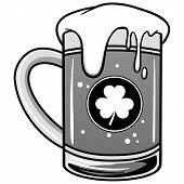 Irish Beer Illustration - A Vector Cartoon Illustration Of A Mug Of Irish Beer. poster