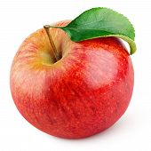 Single Ripe Red Apple Fruit With Green Leaf Isolated On White Background With Clipping Path poster