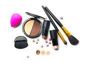 Face contouring make-up, contour. Highlight, shade, contour and blend. Makeup Contour Products, make poster