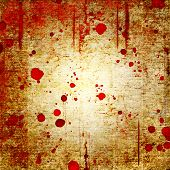 Bloody Blood Red Grunge Background. Vntage Abstract Texture Background. Watercolor Hand Drawn Aged P poster