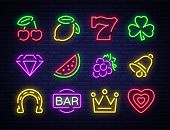 Slot Machine Is A Neon Sign. Collection Of Neon Signs For A Gaming Machine. Game Icons For Casino. V poster