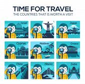 Set Of Flat Travel Icons With Character Photographer. Different Countries, Cities, Landmarks Of Worl poster