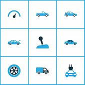 Постер, плакат: Auto Icons Colored Set With Plug Chronometer Automobile And Other Gear Lever Elements Isolated Ve