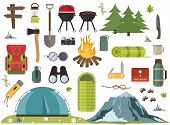 Hiking Camping Equipment Vector Campfire Base Camp Gear And Accessories Illustration. Hike Outdoor T poster