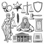 Vintage Judicial System Elements Set With Judge Handcuffs Police Badge Scales Gavel Feather Law Book poster