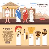 Ancient Rome 2 Flat Horizontal Banners Webpage Design With Museum Art Masterpieces Culture And Citiz poster