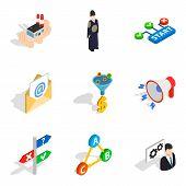 Seo Professional Icons Set. Isometric Set Of 9 Seo Professional Vector Icons For Web Isolated On Whi poster