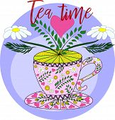 Cup Of Hot Camomile Tea And Stem With Leaves And Flowers. Chamomile Stem With Leaves And Flowers. Ve poster