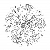 Vector Round Composition With Outline Carnation Or Clove. Flower Bunch, Bud And Leaves In Black Isol poster