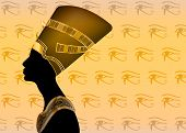 Egyptian Silhouette Icon. Queen Nefertiti. Vector Portrait Profile With Golden Jewels And Precious S poster
