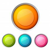 Modern Design Button Concept Set With One Big Orange Button And Three Different Colored Small Ones O poster