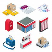 Isometric Set Of Post Office, Postman, Envelope, Mailbox And Other Attributes Of Postal Service, Poi poster