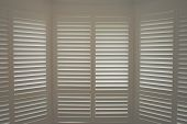 Luxury White Indoor Plantation Shutters, Closed Shutters poster