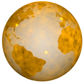 stock photo of eastern hemisphere  - A Gold Textured Earth Globe golden view of eastern and western hemispheres - JPG