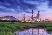 Landscape Of Oil Refinery Plant And Manufacturing Petrochemical Process Building, Industry Of Power  poster